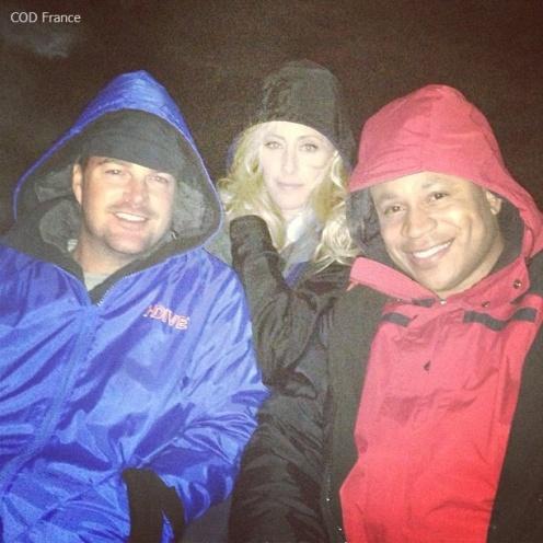 Chris O'Donnell, Kim Raver & LL Cool J sur le tournage (16.02.13)